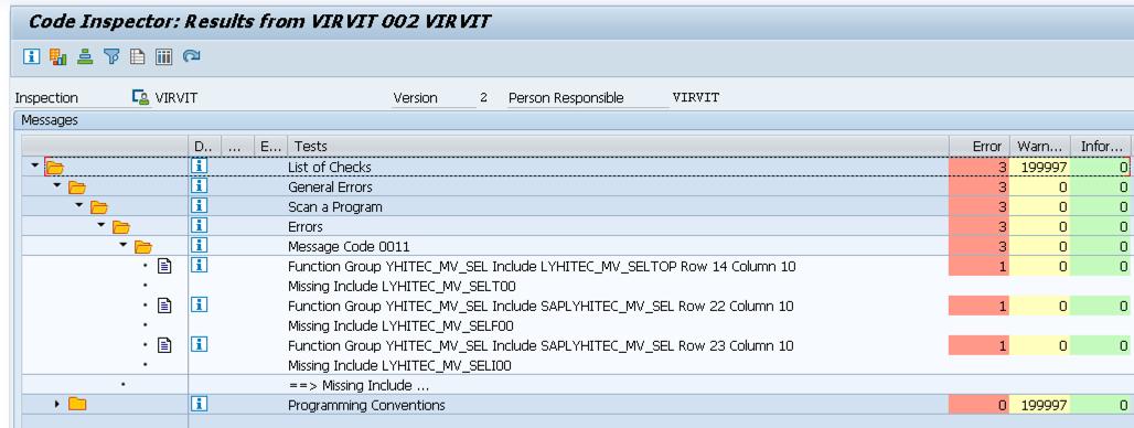 SAP Code Inspector Result Log