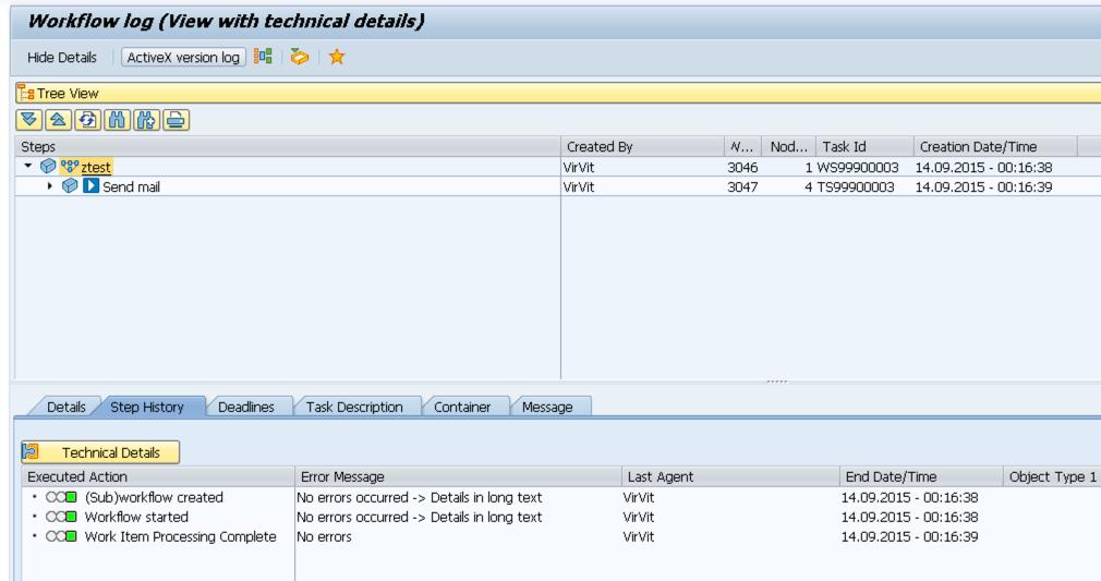 Workflow log