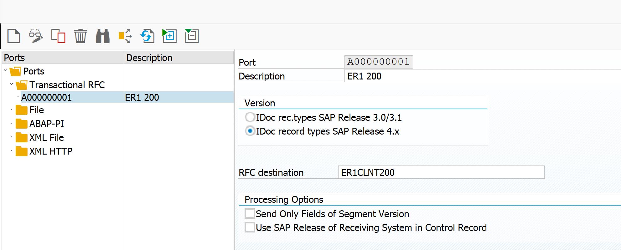 Define port in SAP ALE