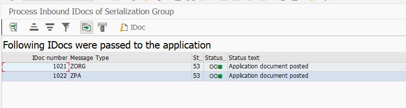 Входящая обработка группы сериализации IDOC