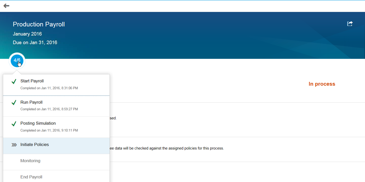 Внешний вид SAP Payroll Control Center